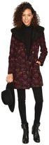 BB Dakota Elanora Floral Jacquard Coat w/ Sherpa Collar