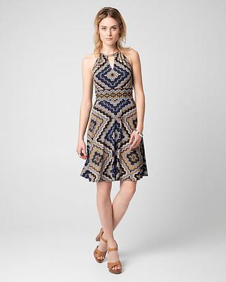 Le Château Scarf Print Slub Knit Halter Dress