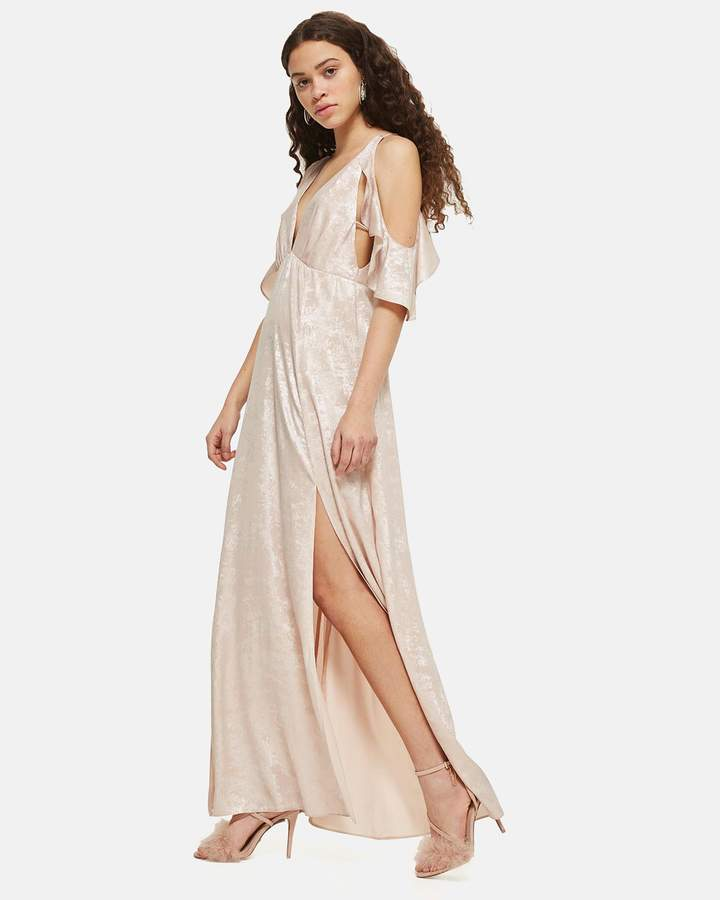 Topshop Foil Cold Shoulder Maxi Dress