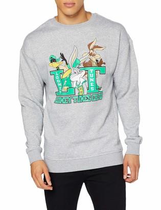 MERCHCODE Men's Looney Tunes Crew Crewneck Grey XXL T-Shirt Xx-Large