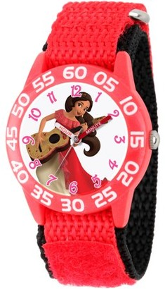 Disney Elena of Avalor Girls' Red Plastic Time Teacher Watch, Red Nylon Strap with Black Backing