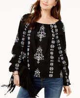 INC International Concepts I.N.C. Embroidered Tiered-Sleeve Cotton Peasant Top, Created for Macy's