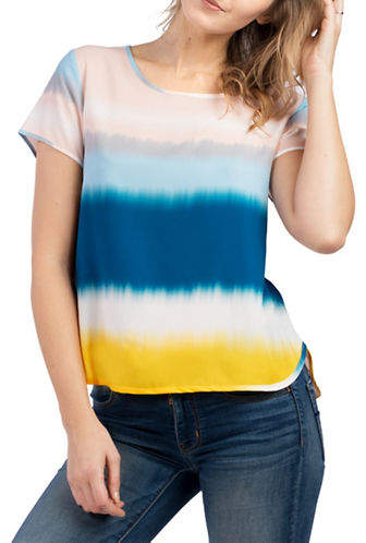 French Connection Tanna Crepe Tye-Dyed Tee