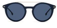 HUGO BOSS Blue Frame Sunglasses With Metallic Bridge