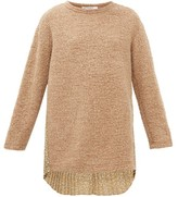 Junya Watanabe Floral-print Plisse And Boucle-knit Sweater - Womens - Beige Multi