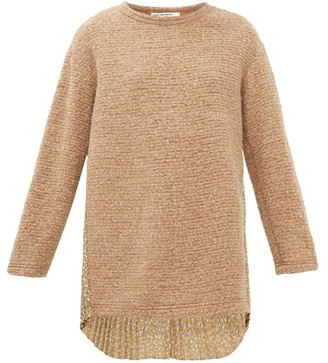 Junya Watanabe Floral-print Plisse And Boucle-knit Sweater - Beige Multi