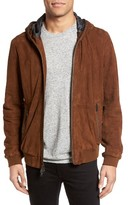 John Varvatos Men's Hooded Leather Bomber Jacket