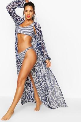 boohoo Nautical Rope Print Maxi Beach Kimono