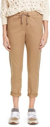 Brunello Cucinelli Monili Stripe Stretch Twill Crop Pants