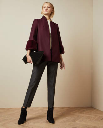 Ted Baker RILLY Faux fur cuff wool coat