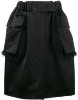 Simone Rocha fur trimmed knee-length skirt - women - Cotton/Viscose/Turkey Feather - 6