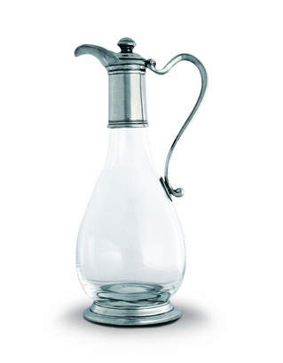 Vagabond House Classic Pewter and Glass Wine Decanter