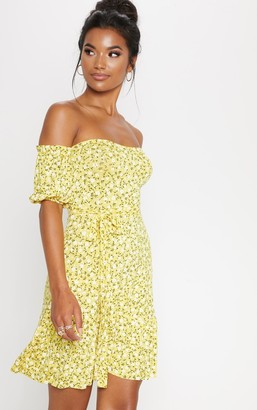 Bardot Fashion Yellow Ditsy Print Frill Hem Skater Dress