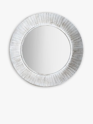 Unbranded Round Distressed Metal Wall Mirror, 81cm, White