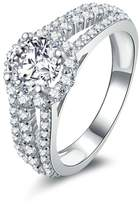 Epinki Women Rings, 925 Sterling Ring Birthday Ring With Three Line Round Cubic Zirconia Size 9