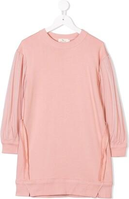 Andorine Tulle Sleeve Sweater Dress