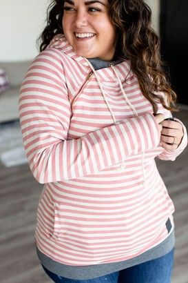 Ampersand Avenue DoubleHood Sweatshirt - Pink Stripe