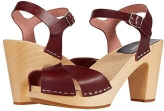 Swedish Hasbeens Merci Sandal (Bordeaux) Women's Clog/Mule Shoes