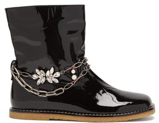 Loewe Chain-embellished Patent-leather Ankle Boots - Black