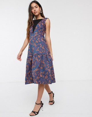 Closet London Closet gold jacquard dress with drop hem