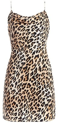 Alice + Olivia Harmony Leopard Draped Slip Mini Dress