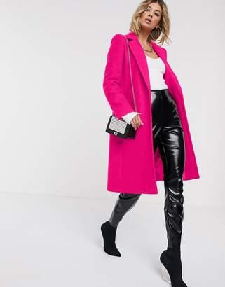 Helene Berman single button wool blend college coat in neon pink
