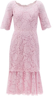 Dolce & Gabbana Fluted Cordonetto-lace Dress - Light Pink