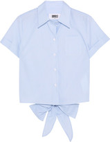 MM6 MAISON MARGIELA Tie-back Striped Cotton-poplin Shirt - IT42