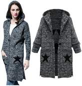 Kedera Fashion Autumn/Winter Plus Size Lapel Knitted Star Pattern Cardigan Sweater with Hoodies for Women