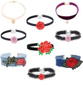 MingJun 9PCS Velvet Elegant Chokers Set with Pendent Blue Denim Jeans Floral Embroidery Necklaces for Women Girls Teen
