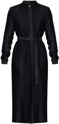 Undress Lidia Black Striped Midi Shirt Dress