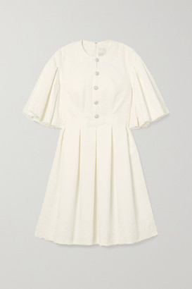 Huishan Zhang Jaime Embellished Lace-paneled Pleated Cotton-blend Dress - White