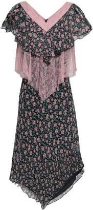 Anna Sui Chantilly Lace-paneled Floral-print Silk-gauze Dress
