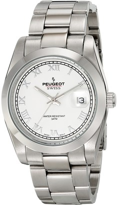 Peugeot PS4911S Swiss Women's Silver-Tone Roman Numeral White Dial Watch