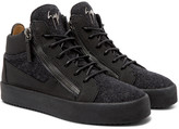 Giuseppe Zanotti - Rubber-crepe And Felt High-top Sneakers