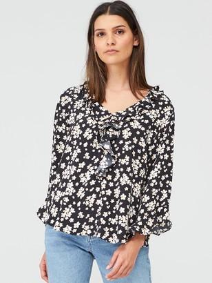 Wallis Daisy Ruffle Sleeve Top - Multi