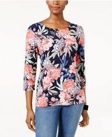 JM Collection Floral-Print Jacquard Top, Only at Macy's