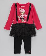 Children's Apparel Network Pink Suspenders Shortcake Tutu Tunic & Leggings - Girls