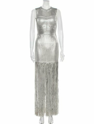 Herve Leger Crew Neck Mini Dress Silver