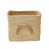 Rice Small Square basket in Raffia with Leather hands