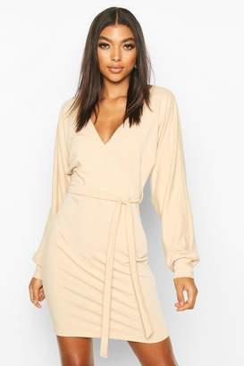 boohoo Tall Belted Batwing Sweat Dress