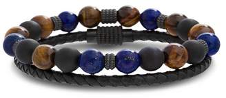 Lapis REINFORCEMENTS Stainless Steel & Tigers Eye Bead & Leather Bracelet Set