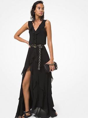 MICHAEL Michael Kors MK Stretch Viscose Ruffled Dress - Black - Michael Kors