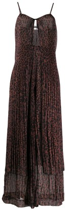 Rotate by Birger Christensen Leopard-Print Pleated Chiffon Dress