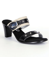 Onex Penelope Leather Double Banded Studded Buckle Slide Sandals