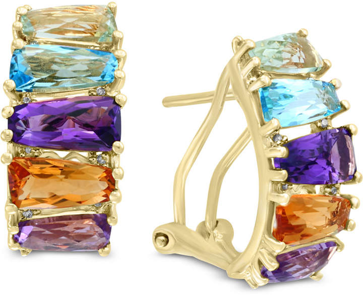 Effy Mosaic by Multi-Gemstone (5-1/2 ct. t.w.) & Diamond Accent Hoop Earrings 14k Gold