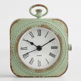 Distressed Mint Metal Abbie Pocket Watch Clock
