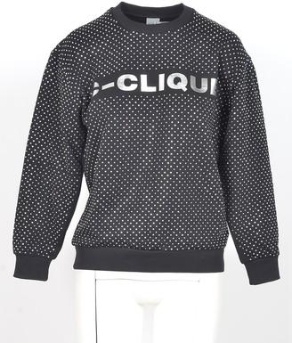 Pinko Black&White Polka-dots Printed Cotton Women's Sweatshirt