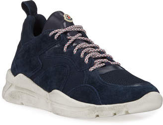 Moncler Men's Jakub Distressed Mesh & Suede Sneakers