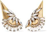 Elizabeth Cole Linnette gold-plated Swarovski crystal clip earrings